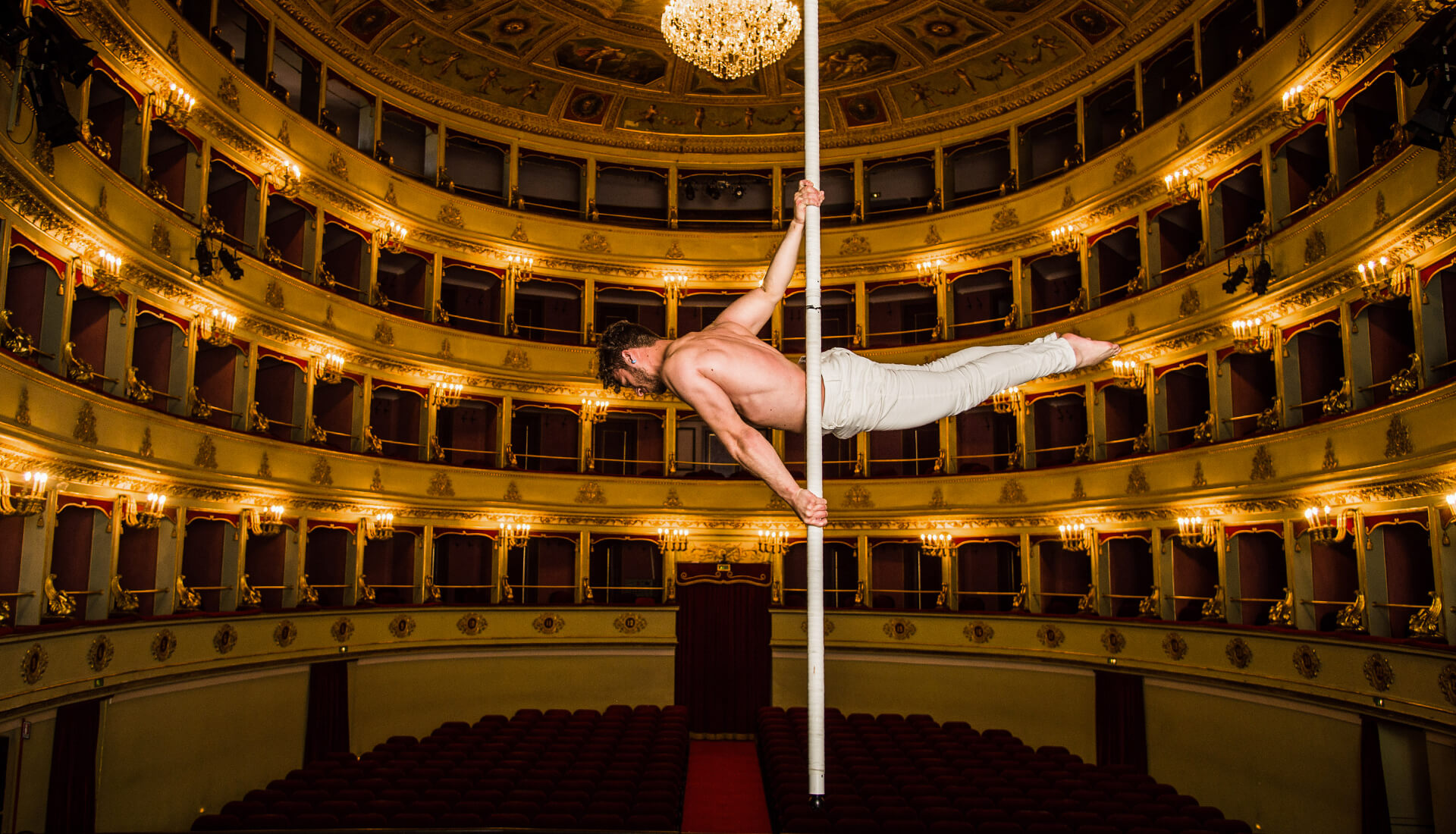 Swinging pole dance
